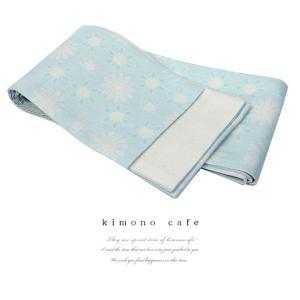 浴衣 帯 半巾帯 フラワープリント 淡い水色 麻 細帯 半幅帯 浴衣帯|kimonocafe-y