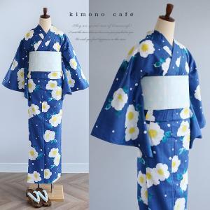 レディース 浴衣単品 紺地に白いお花柄 日本製生地 変わり織り浴衣 大きいサイズ 小さいサイズ|kimonocafe-y