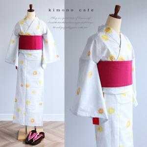 レディース 浴衣単品 淡グレーほおづき柄 日本製生地 変わり織り浴衣 大きいサイズ 小さいサイズ|kimonocafe-y