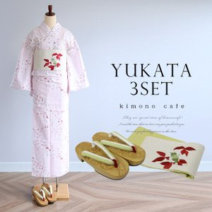 浴衣3点セット 淡ピンクアーモンド花柄 浴衣帯と浴衣下駄がセットになった女性浴衣セット|kimonocafe-y