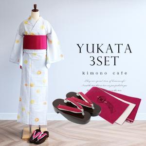 浴衣3点セット 淡グレーほおづき柄 浴衣帯と浴衣下駄がセットになった女性浴衣セット|kimonocafe-y