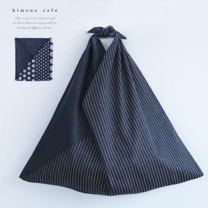 東袋 デニム ストライプ ドット コンパクト エコバッグ ショッピングバッグ サブバック kimonocafe-y