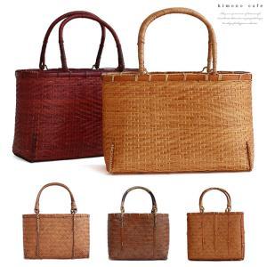 竹かご ハンドバッグ Lサイズ うす竹 編み  ナチュラル ブラウン レッドブラウン バンブー