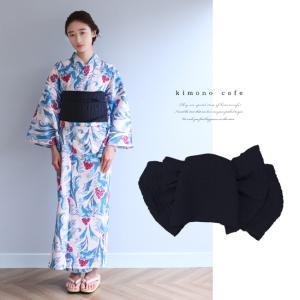 浴衣 セット 2点セット ボタニカル ブルー 麻 兵児帯 浴衣セット kimonocafe フリーサイズ Sサイズ ワイドサイズ TLサイズ|kimonocafe-y