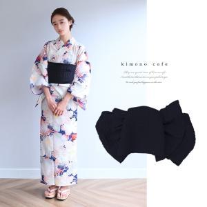 浴衣 セット 2点セット 糸菊 ネイビー 麻 兵児帯 浴衣セット kimonocafe フリーサイズ Sサイズ ワイドサイズ TLサイズ|kimonocafe-y