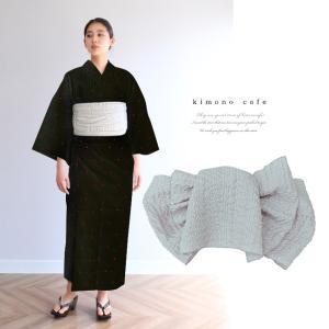 浴衣 セット 2点セット モノトーン三角 ブラック 麻 兵児帯 浴衣セット kimonocafe フリーサイズ Sサイズ ワイドサイズ TLサイズ|kimonocafe-y