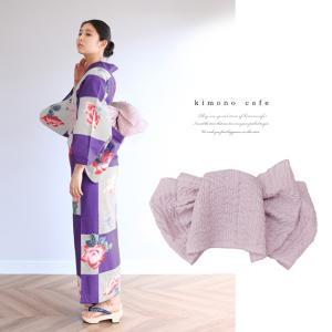 浴衣 セット 2点セット 市松薔薇 パープル 麻 兵児帯 浴衣セット kimonocafe フリーサイズ Sサイズ ワイドサイズ TLサイズ|kimonocafe-y