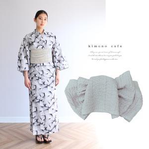 浴衣 セット 2点セット ライン モノトーン 麻 兵児帯 浴衣セット kimonocafe フリーサイズ Sサイズ ワイドサイズ TLサイズ|kimonocafe-y