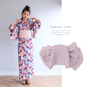 浴衣 セット 2点セット ステンドガラス パープル 麻 兵児帯 浴衣セット kimonocafe フリーサイズ Sサイズ ワイドサイズ TLサイズ|kimonocafe-y