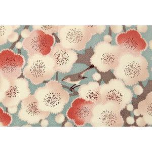 風呂敷 満開の梅 うぐいす柄 ちりめん 風呂敷 水色 メール便可 あすつく|kimonocafe-y