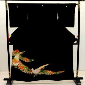 【中古】リサイクル着物 留袖 黒留袖 金刺しゅう 黒 正絹 結婚式 リサイクル 中古留袖 中古着物 中古きもの とめそで t-019|kimonohiroba-you