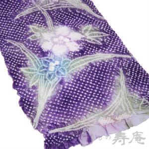 浴衣 最高峰の総絞 藤娘 きぬたや 絞染 花柄 パープル地色 ピンク紫 青の花 緑葉 新品 未仕立 日本製|kimonojyuan