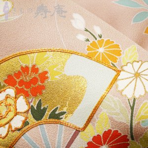 着物 特選訪問着 古典京友禅訪問着 卒業式 入学式 御所解に扇面文様 ピンク 絹100% 新品 未仕立 日本製 kimonojyuan 06