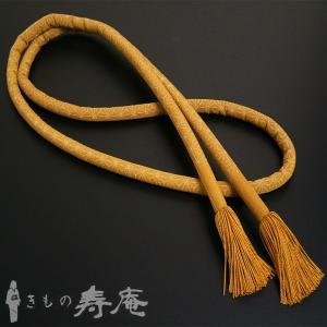 帯締め 丸ぐけ お洒落用 麻の葉柄 金茶 正絹 新品|kimonojyuan