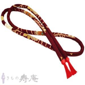 帯締め 丸ぐけ 乱菊 赤紫 レトロ モダン 正絹 新品 kimonojyuan
