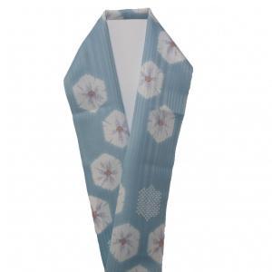 半衿 絞り風リンズ 水色  化繊 新品 kimonojyuan