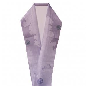 半襟 ポリエステル100% 紫色 桜 麻の葉 てまり 綸子 新品 kimonojyuan