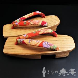 下駄 痛くない 高級桐 かわいい 白木 朱赤 レトロ柄 フリーサイズ 新品 kimonojyuan