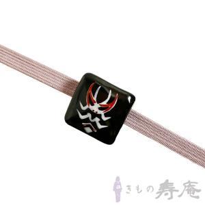帯留 隈取 清水焼 かわいい 歌舞伎 陶器 黒 伝統工芸 新品 日本製|kimonojyuan|02