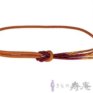 帯締め 丸組 茶 エンジ色  正絹 新品|kimonojyuan