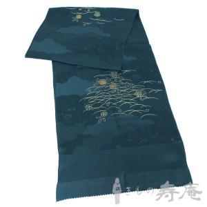 帯揚げ 紺色 雲取りの綸子生地 桜と露芝模様 正絹 新品|kimonojyuan