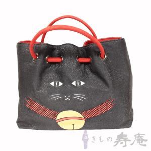 栗山紅型 和染バッグ 猫柄 ブラック 朱赤 和洋兼用 新品|kimonojyuan