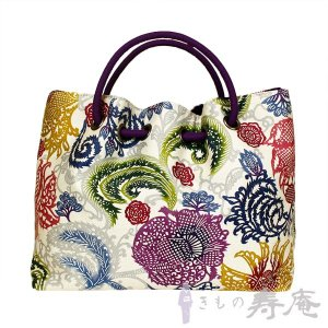 和装バッグ 和柄 栗山紅型 ざくろ更紗 紫 ホワイト 和洋兼用 新品|kimonojyuan