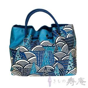 バッグ 和柄 栗山吉三郎 琉球舟 ブルー 正絹帯地使用 和装かばん 新品|kimonojyuan