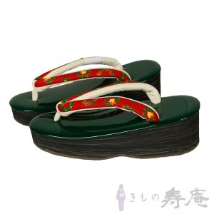草履 クリスマス オリジナル草履 一点限り 最高級 グリーン レッド Мサイズ 皮革 新品|kimonojyuan