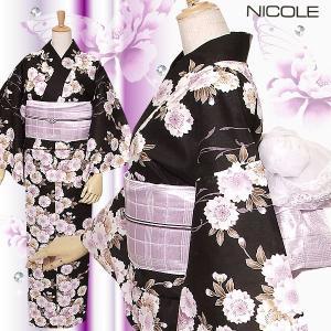浴衣 レディース NICOLE二コル 自分サイズにお仕立て「ブラック 八重桜」 (メール便不可)ss2103ykl30|kimonomachi