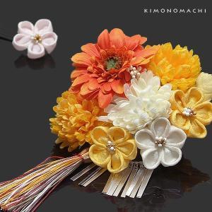 「花しおり」華やかなつまみ細工のお花の髪飾り2点セットです。つまみ細工と本物のお花のような造花の華や...
