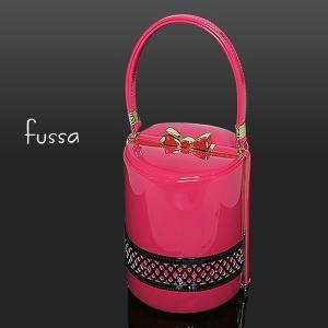fussa 和装バッグ「ピンク×黒色」エタニティパンチングバッグ 振袖バッグ フッサ 結婚式