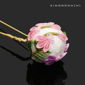 髪飾り 成人式 つまみのお花 Uピン髪飾り「白色の玉×蘭のつまみのお花」ポイント髪飾り 花 和 つまみ髪飾り kimonomachi