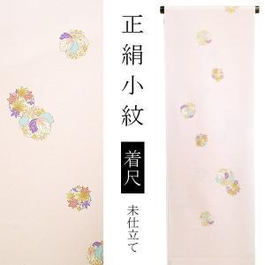 正絹 小紋着尺「薄桃色 楓、桐の丸文」 正絹着物 正絹小紋 小紋反物|kimonomachi
