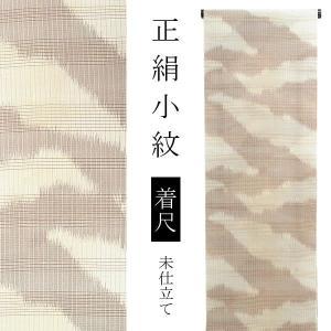 夏の正絹 小紋着尺「ブラウン×ベージュ 霞」 紗紬 正絹小紋 小紋反物ss1909kck40|kimonomachi