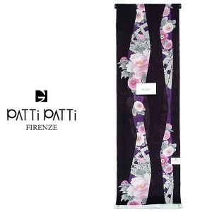 綿麻浴衣反物「紫黒色 縞に牡丹、菊」未仕立て