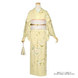 お仕立て上がり 訪問着単品「鳥の子色 枝垂れ桜に花」 背伏せ付き 正絹着物 夏着物ss2009kr240 kimonomachi