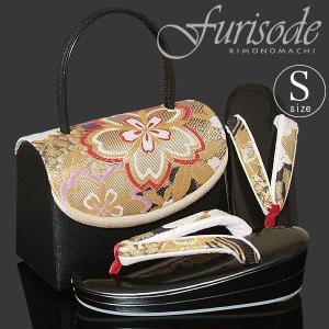 Sサイズ 草履バッグセット「金色 市松に桜」