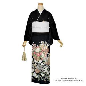 お仕立て上がり 黒留袖「四季の花篭」 紋入れ代込み 正絹着物 留袖|kimonomachi