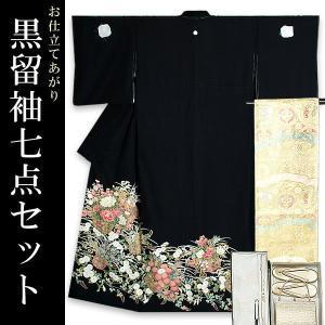 お仕立て上がり 黒留袖セット「四季の花篭」 紋入れ代、袋帯仕立て代込み 正絹着物 留袖|kimonomachi