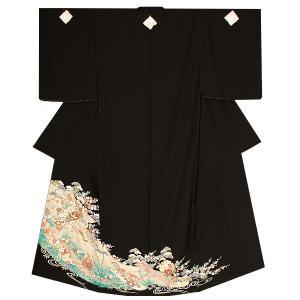 未仕立て 黒留袖単品「誰が袖、雪輪に吉祥草花」 ゆとりサイズ 正絹黒留袖 第一礼装|kimonomachi