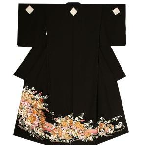 未仕立て 黒留袖単品「菊花に華文、鳳凰」 本金箔使用 正絹黒留袖 第一礼装|kimonomachi