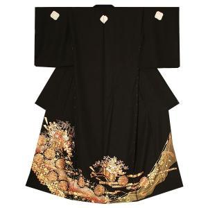 未仕立て 黒留袖単品「花車、吉祥文様」 正絹黒留袖 正絹着物 第一礼装|kimonomachi