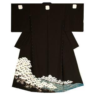 未仕立て 黒留袖単品「松林」 丹後ちりめん 正絹黒留袖 正絹黒留袖|kimonomachi
