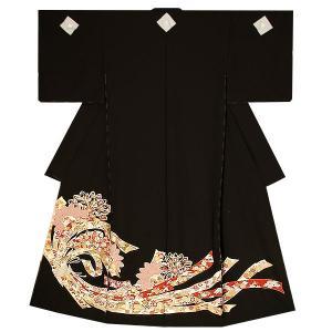 未仕立て 黒留袖単品「束ね熨斗に菊花」 久美すがた 丹後ちりめん 正絹黒留袖 kimonomachi