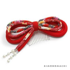 髪飾り丸ぐけリボンコーム「赤色 古布調」