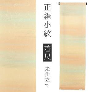 正絹 小紋着尺「イエローベージュ段ぼかし 葡萄唐草」洒落着 未仕立て ちりめん 正絹小紋 正絹着物|kimonomachi