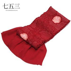 総絞り 帯揚げ「赤色×ピンク色