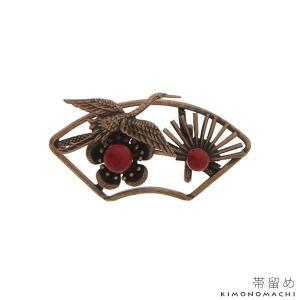 アンティーク調 帯留め「扇に鶴、梅と松」 和装小物 洒落小物 帯どめ お正月、初詣に