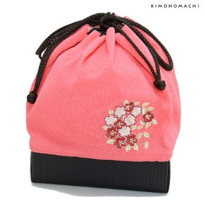 刺繍巾着「ピンク色 桜の輪刺繍」刺繍 ちりめん巾着 袴巾着